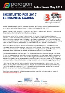 Paragon Print & Marketing Solutions shortlisted
